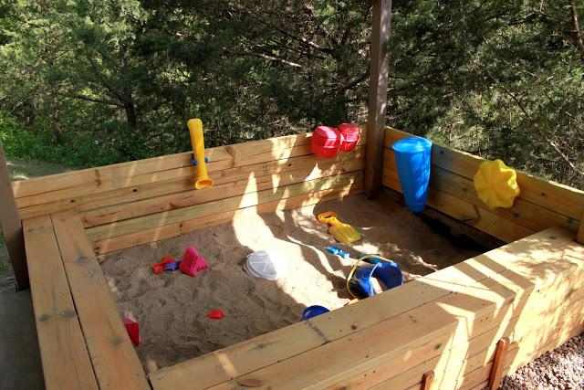 Landscape Fabric Under Deck : The under deck sandbox and playground between sisters