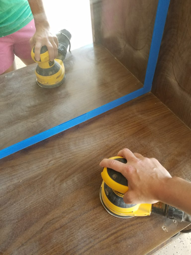 I Have A Mirror In The Back Of My Hutch So Used Some Painters Tape To Protect It From Sander Am Going Brag Bit About